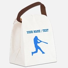 Custom Blue Baseball Batter Canvas Lunch Bag