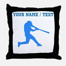Custom Blue Baseball Batter Throw Pillow