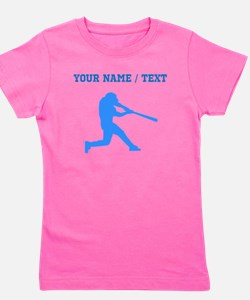 Custom Blue Baseball Batter Girl's Tee