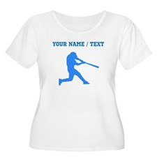 Custom Blue Baseball Batter Plus Size T-Shirt