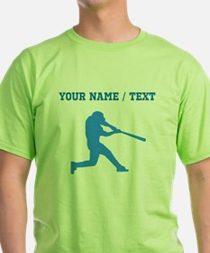 Custom Blue Baseball Batter T-Shirt