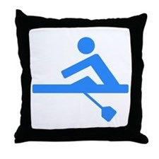 Blue Rower Throw Pillow