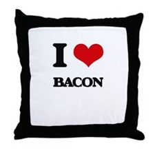 I Love Bacon ( Food ) Throw Pillow