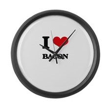 I Love Bacon ( Food ) Large Wall Clock