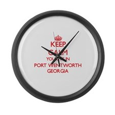 Keep calm you live in Port Wentwo Large Wall Clock