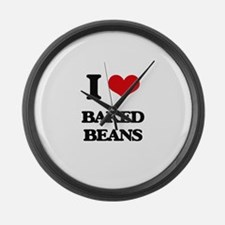 I Love Baked Beans ( Food ) Large Wall Clock