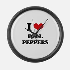 I Love Bell Peppers ( Food ) Large Wall Clock