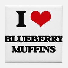 I Love Blueberry Muffins ( Food ) Tile Coaster