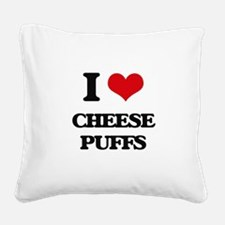 I Love Cheese Puffs ( Food ) Square Canvas Pillow