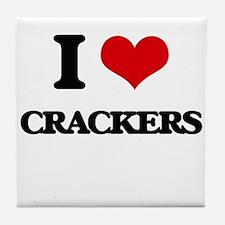 I Love Crackers ( Food ) Tile Coaster