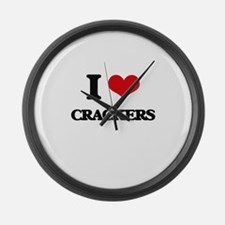 I Love Crackers ( Food ) Large Wall Clock