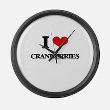 I Love Cranberries ( Food ) Large Wall Clock