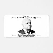 Ingersoll: Falsehood Aluminum License Plate
