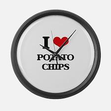 I Love Potato Chips ( Food ) Large Wall Clock