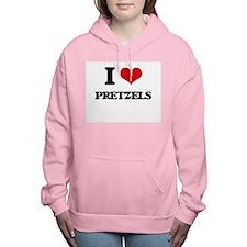 I Love Pretzels ( Food ) Women's Hooded Sweatshirt