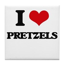 I Love Pretzels ( Food ) Tile Coaster