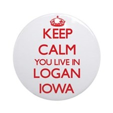 Keep calm you live in Logan Iowa Ornament (Round)
