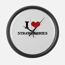 I Love Strawberries ( Food ) Large Wall Clock