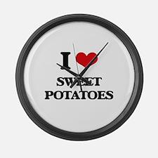 I Love Sweet Potatoes ( Food ) Large Wall Clock