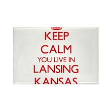 Keep calm you live in Lansing Kansas Magnets