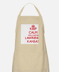 Keep calm you live in Lawrence Kansas Apron