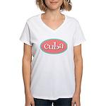 Cuba Oval Pink Women's V-Neck T-Shirt