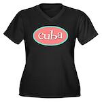 Cuba Oval Pink Women's Plus Size V-Neck Dark T-Shi
