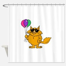 Cat With Balloons Shower Curtain