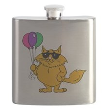 Cat With Balloons Flask