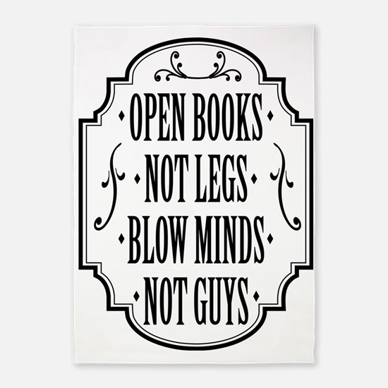 Open Books Not Legs 5'x7'Area Rug