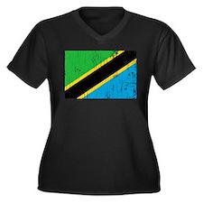 Vintage Tanzania Women's Plus Size V-Neck Dark T-S
