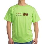 I Love Waffles Green T-Shirt