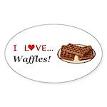 I Love Waffles Sticker (Oval 50 pk)