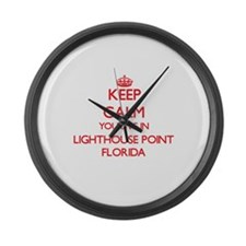 Keep calm you live in Lighthouse Large Wall Clock