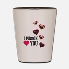 I Puggin' Love You Floating Hearts Shot Glass