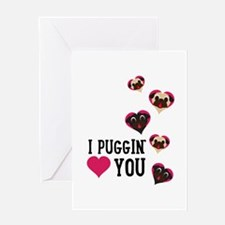 I Puggin' Love You Floating Hearts Greeting Cards