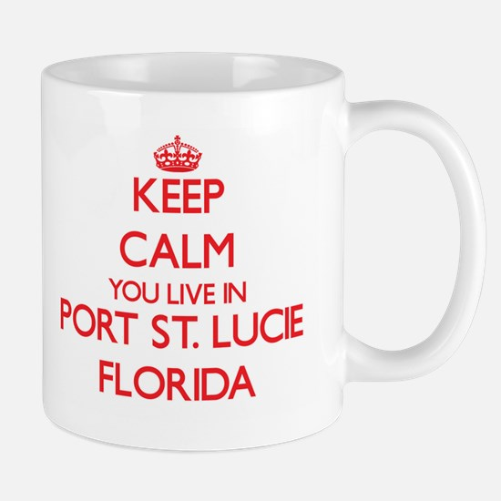 Keep calm you live in Port St. Lucie Florida Mugs
