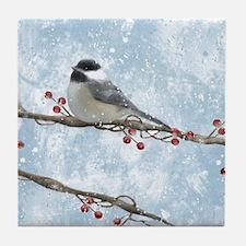 Winter Chickadee Tile Coaster