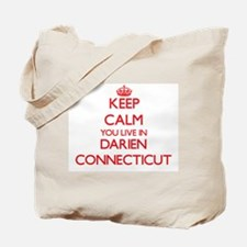 Keep calm you live in Darien Connecticut Tote Bag