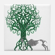 Green Celtic Tree of Life Tile Coaster