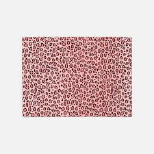 Pink Leopard Animal Print Pattern 5'x7'Area Rug