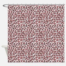 Pink Leopard Animal Print Pattern Shower Curtain