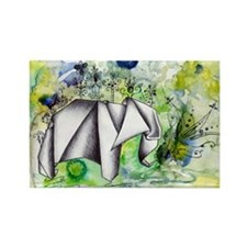 Origami Elephant Ink Wash Magnets