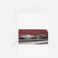 tag boxcar Greeting Cards