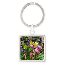 Colorful calla lilies in bloom Keychains
