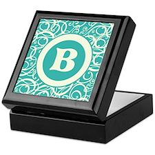 Blue Personalized Monogram Initial Keepsake Box