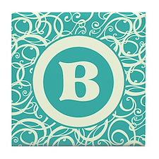 Blue Personalized Monogram Initial Tile Coaster