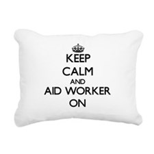 Keep Calm and Aid Worker Rectangular Canvas Pillow