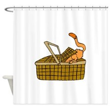 Cat In Picnic Basket Shower Curtain
