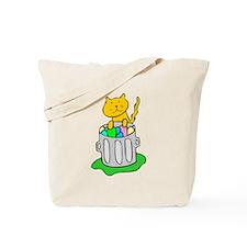 Cat In Garbage Tote Bag